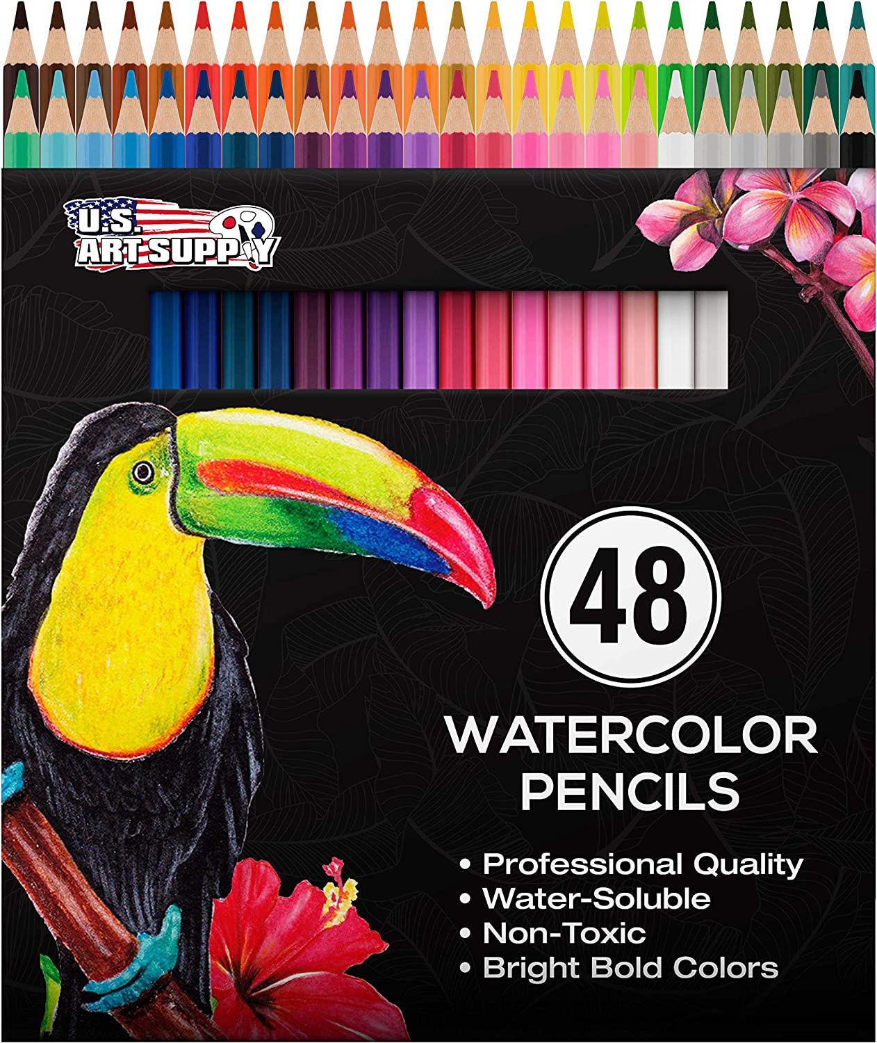 U.S. Art Supply 48 Piece Watercolor Artist Grade Water Soluble Colored Pencil Set, Full Sized 7 Inch Pencil Length