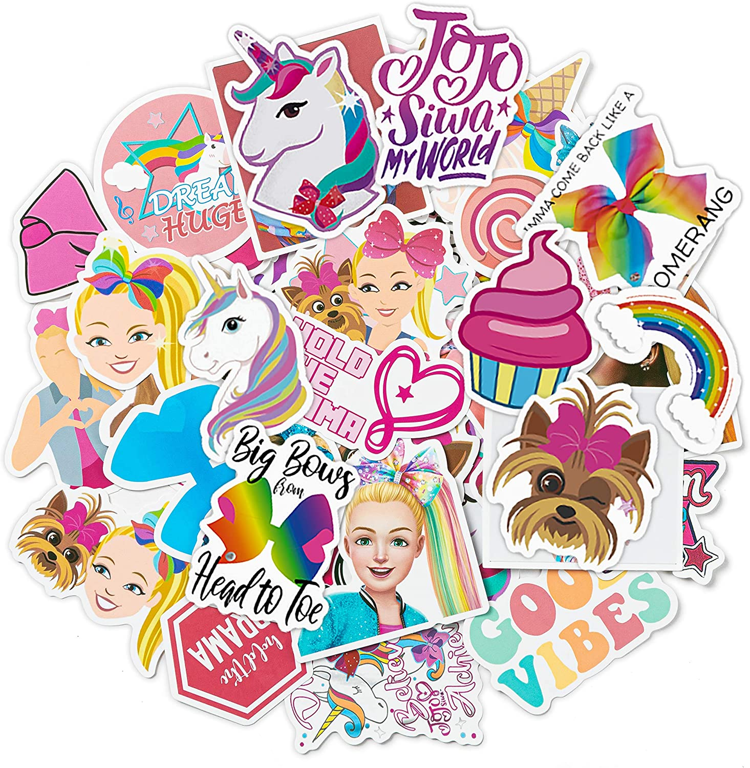 40Pack JoJo Stickers Cute Themed Sticker Party Supplies Rainbow Collections Waterproof Aesthetic Cartoon Favors for Water Bottle Laptop Phone Case Luggage Pen Holder Kids Gifts Rewards
