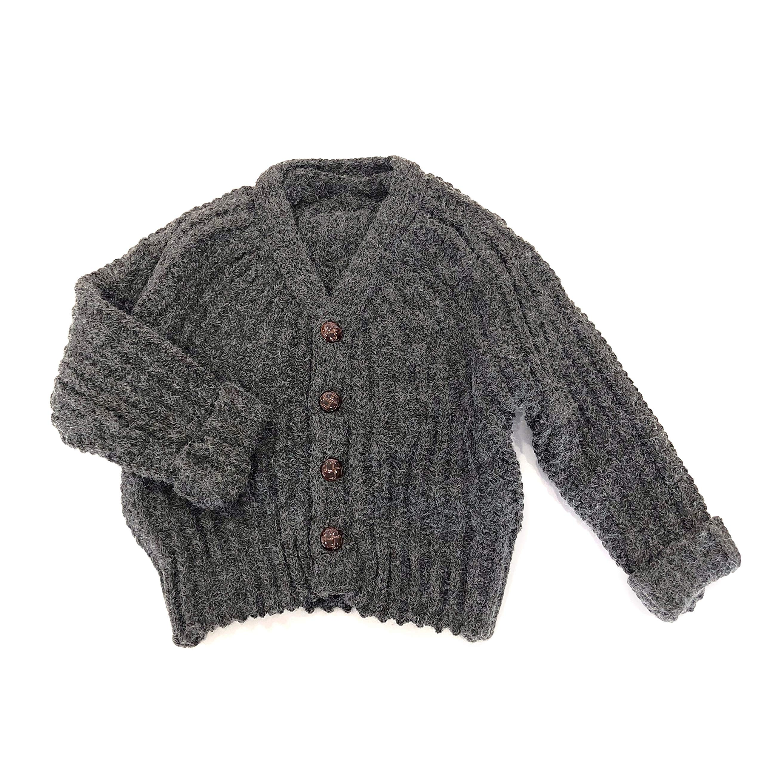 accsa Kid Long Sleeve Cable Knit Rib Chunky Sweater Button-Down Cardigan Age 7-8 Gray