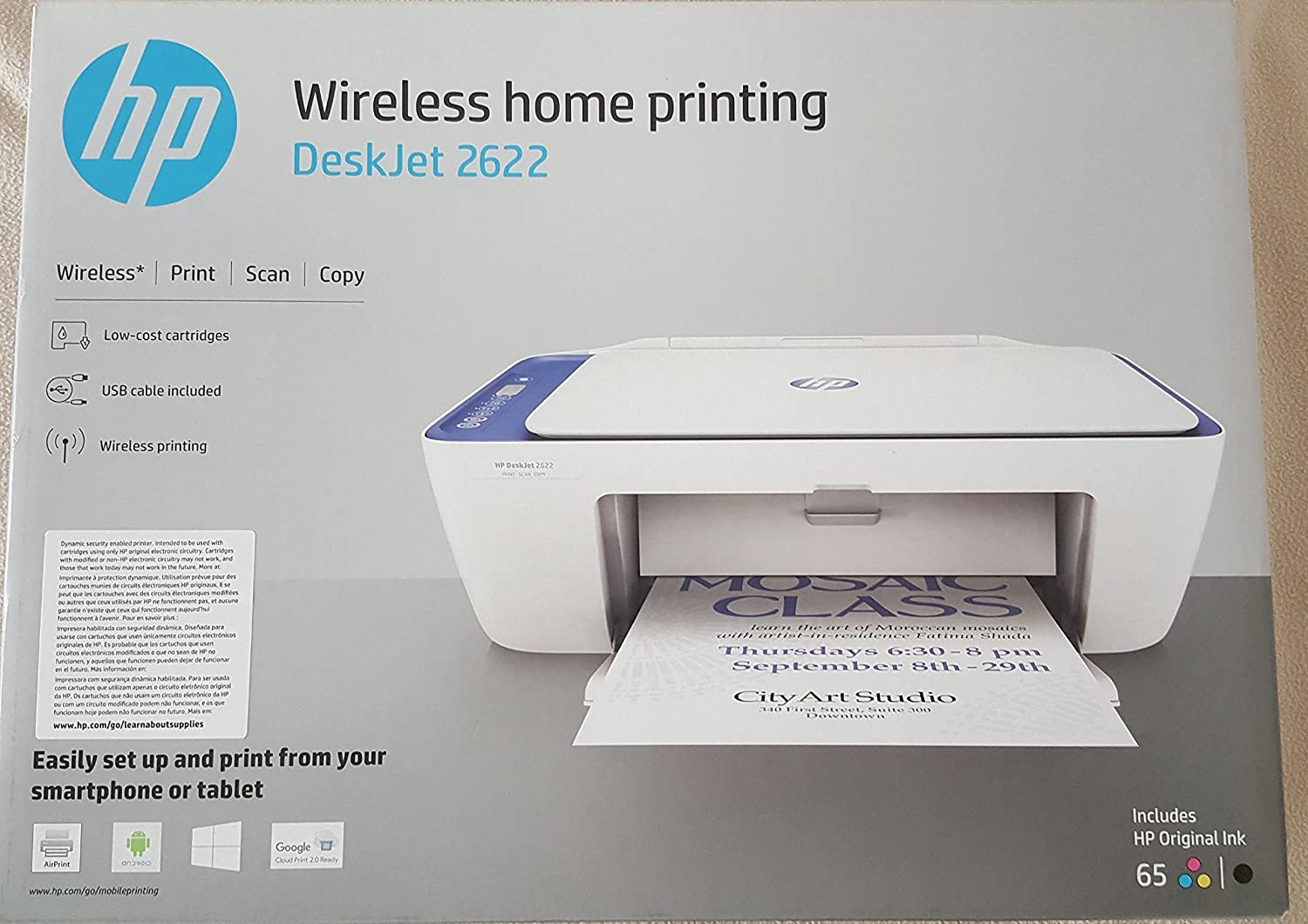 HP Deskjet 2622 All-in-one Printer Wireless Print Scan Copy, USB Cable Included