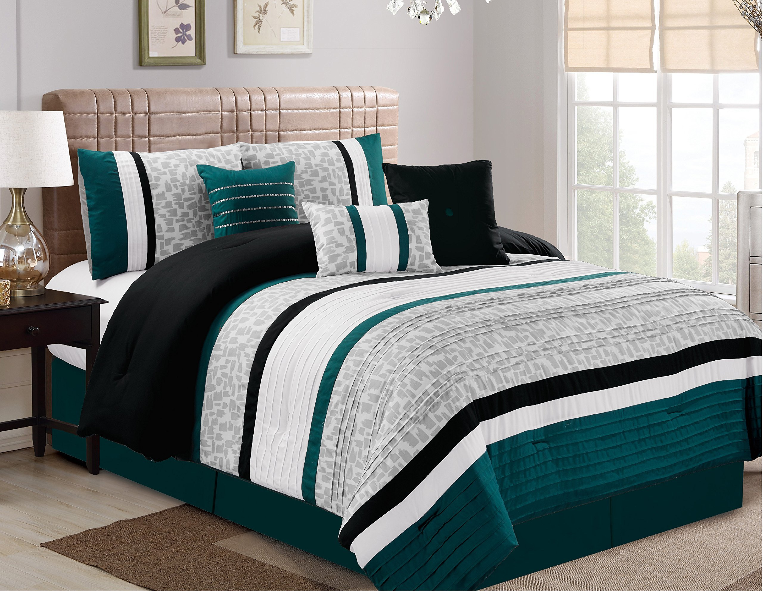 Luxlen 7 Piece Modern  Bed / Comforter in a Bag, King,  Teal