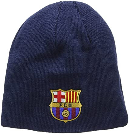 FC Barcelona Knitted Core Beanie Hat - FCB Bronx Beanie - Great Barcelona  Fan Knitted Hat - Official Barca Gear - One Size Fits Most - 100% Acrylic -  Navy ... 56acc08ea
