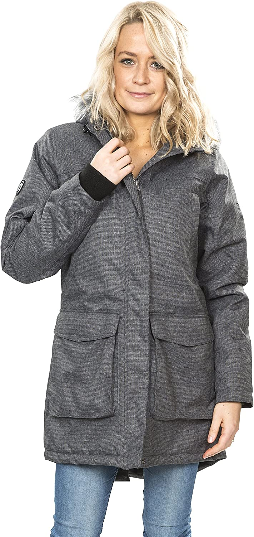 X-Large Black//Silver Grey Warm Waterproof Padded Winter Jacket for Women XL Multicolour Trespass Thundery