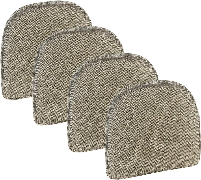 Klear Vu Herringbone Essentials Non-Slip Dining Kitchen Chair Pad, Set of 4, Cream