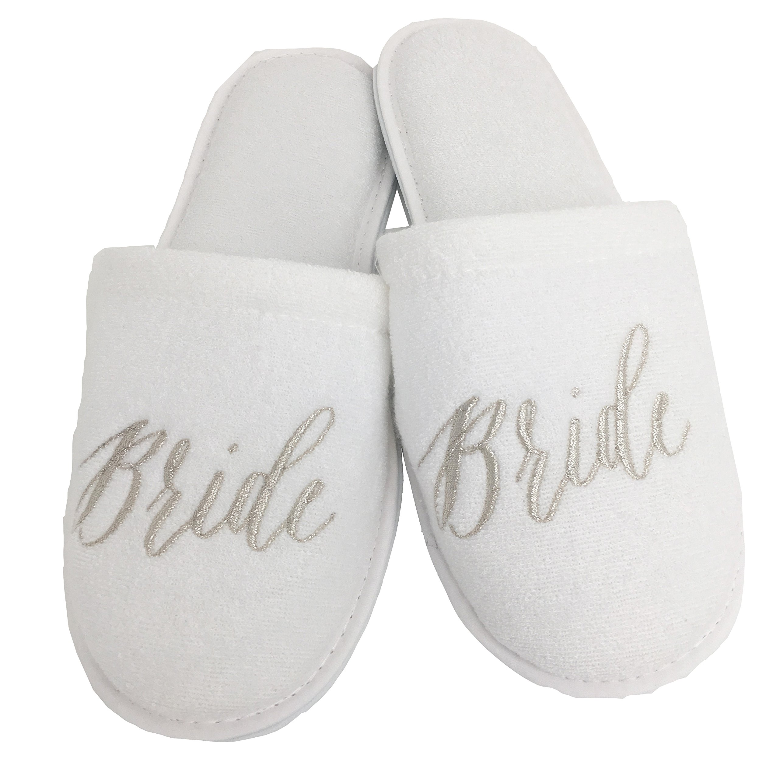 Personalized Slippers Wedding Slippers - (Medium (W6-8), Bride)