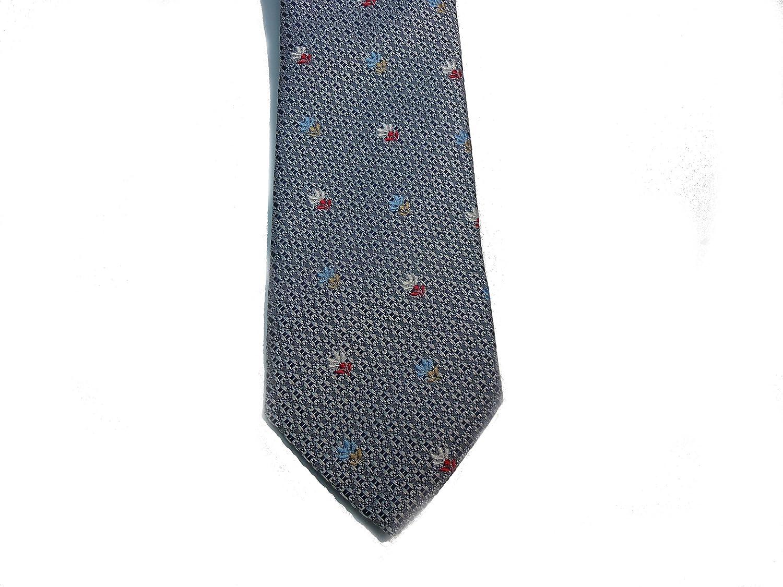 Sergio Barone Handmade Mens Necktie,Flower Italian Silk Grey
