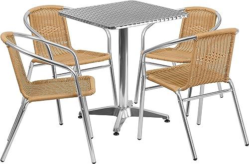 Flash Furniture 23.5'' Square Aluminum Indoor-Outdoor Table Set
