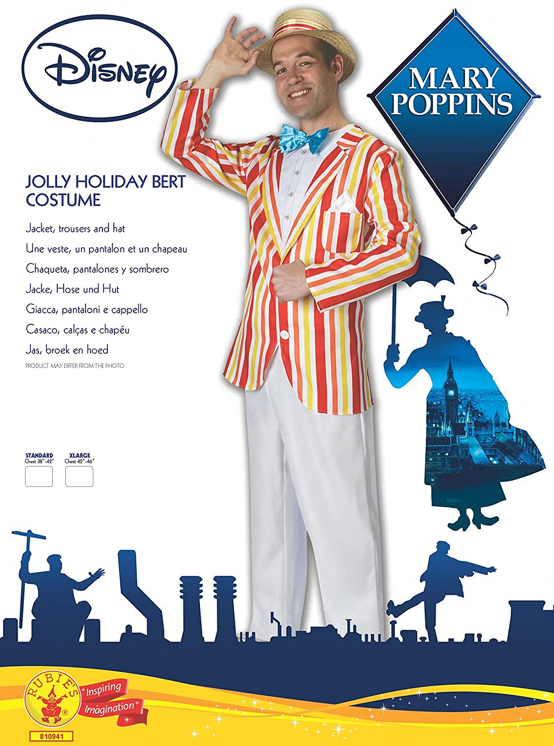 Amazon.com: Rubies Official Disney Bert Costume Jolly Holiday Mary Poppins, Adult Costume: Toys & Games