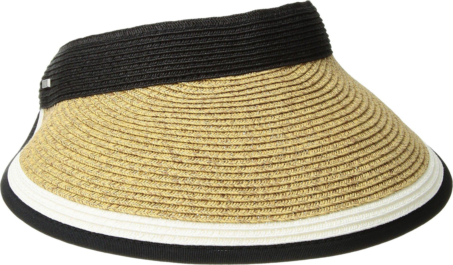 San Diego Hat Company Women's Contrast Color Stripe and Adjustable Back Visor, Black, One Size