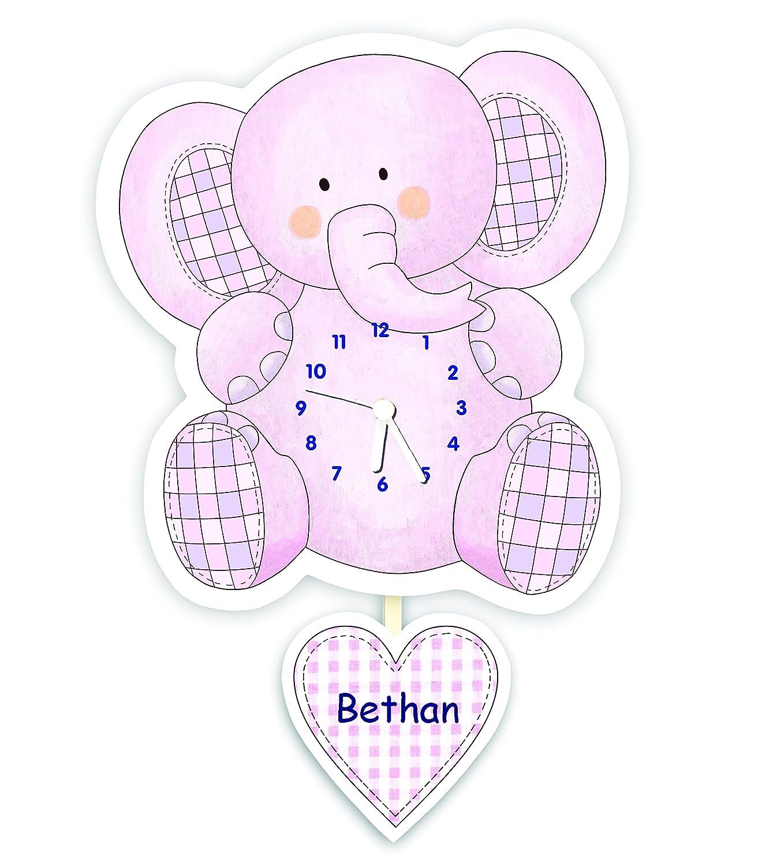 Personalised baby or children's nursery / bedroom pendulum clock - Pink Elephant The Marmalade Cat