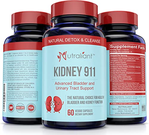 1 KIDNEY CLEANSE SUPPLEMENT – KIDNEY 911 Pills Best Natural Stone Dissolver Detox Bladder Urinary Tract Health Support w Cranberry, Birch Leaves, Turmeric, Astragalus, Juniper Veggie Capsules