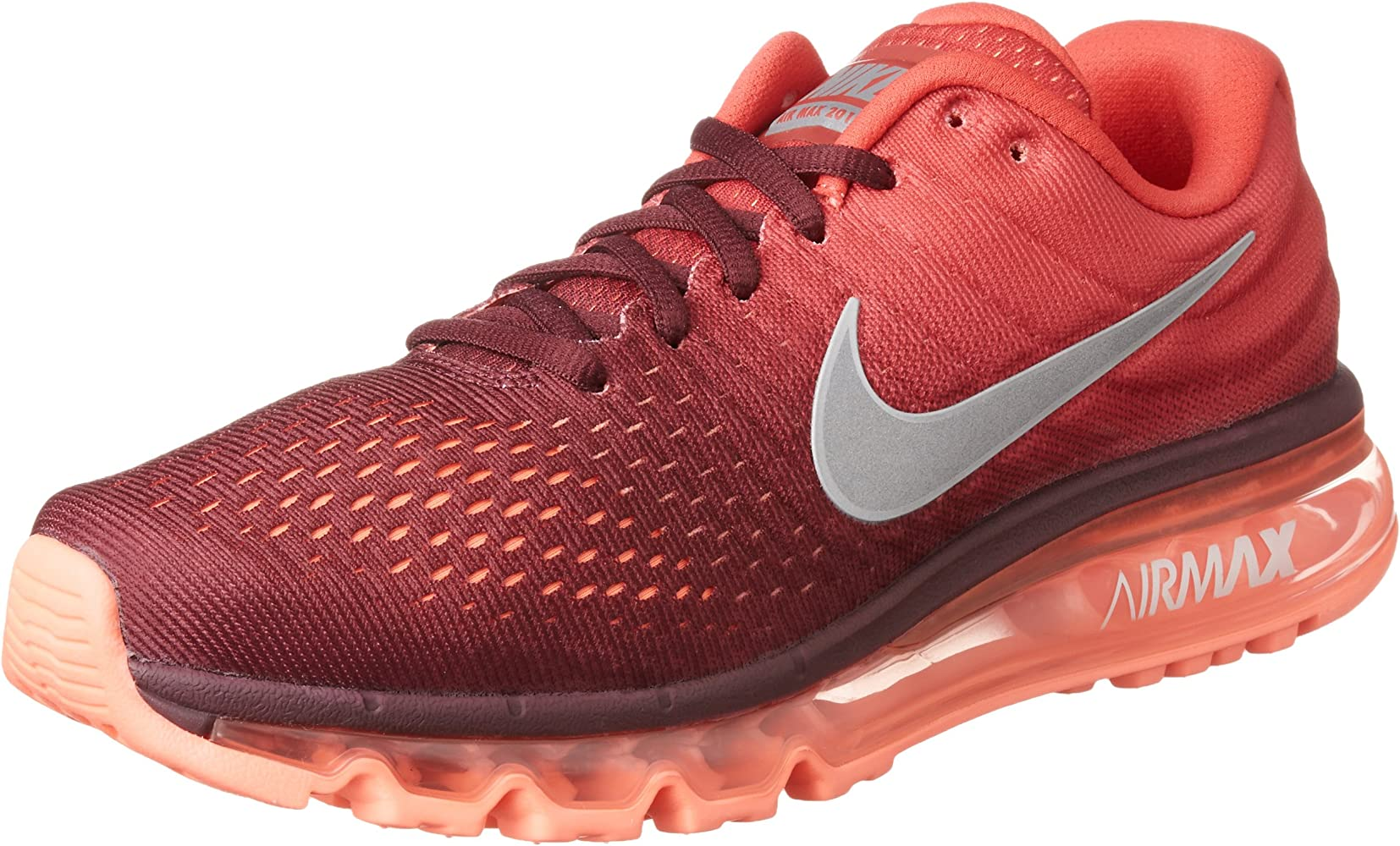Men's Air Max 2017 Running Sneakers (MaroonWhiteGym Red Nylon) Size 10