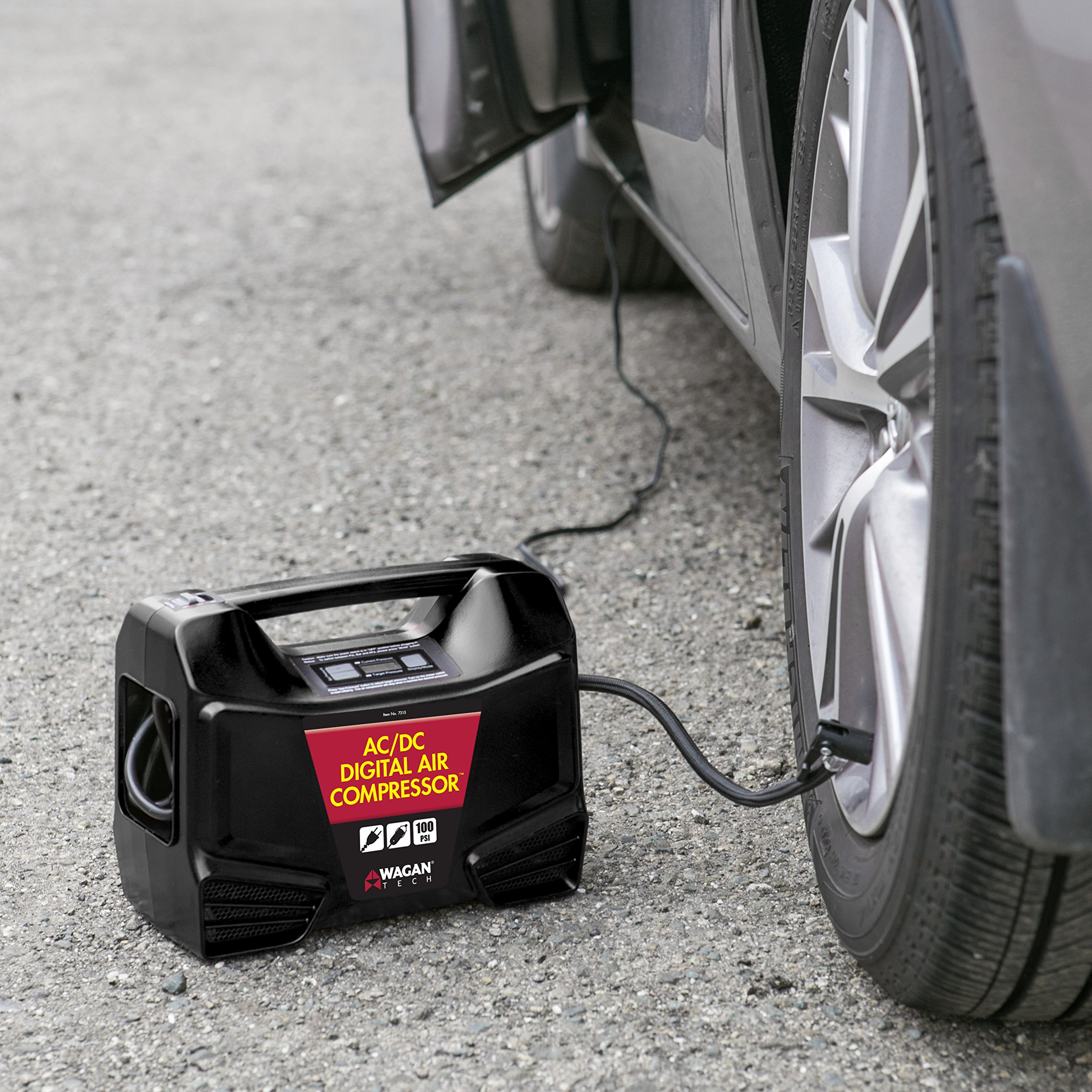 Wagan Digital Display Dual AC/DC 110V/12V Air Compressor Tire Inflator with Nozzle Adapters for Vehicle Outdoor and Home Indoor Use by Wagan (Image #6)