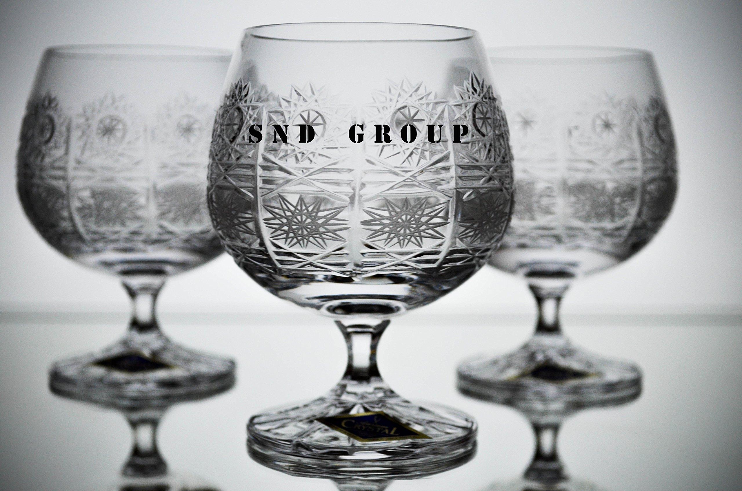 BOHEMIAN CRYSTAL GLASS SNIFTER GLASSES 8oz SET OF 6 COGNAC BRANDY ARMAGNAC CALVADOS WHISKEY STEM GOBLETS HAND CUT CRYSTAL GLASS VINTAGE EUROPEAN DESIGN CLASSIC CZECH CRYSTAL GLASS