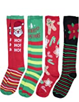 Caramel Cantina Knee High Festive Holiday Christmas Socks 4-Pack