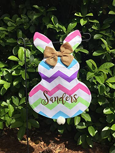 Personalized Easter Bunny Garden Flag, Chevron Bunny Flag, Outdoor Garden  Flag, Easter Bunny