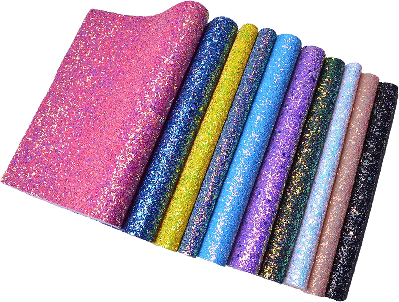 10pcs Shiny Fine Glitter Faux Vinyl Fabric Sheet Hair Bow DIY Decor Crafts A4