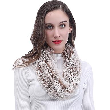Lina   Lily Écharpe Tube Snood pour Femme en Fourrure Synthétique (Blanc et  Marron)  Amazon.fr  Vêtements et accessoires 2e05ec8a342