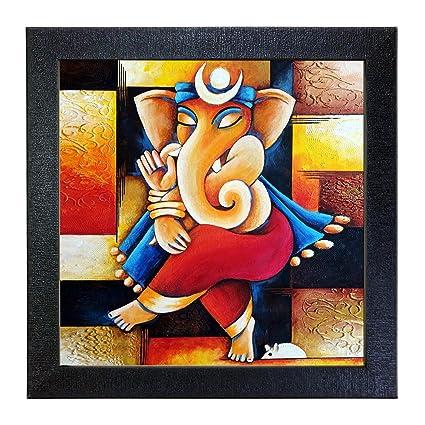Sehaz Artworks Ganesh Wall Photo Painting (Vinyl, 30 cm x 30 cm x 3 cm, Black, SZA-Ganesha_002)