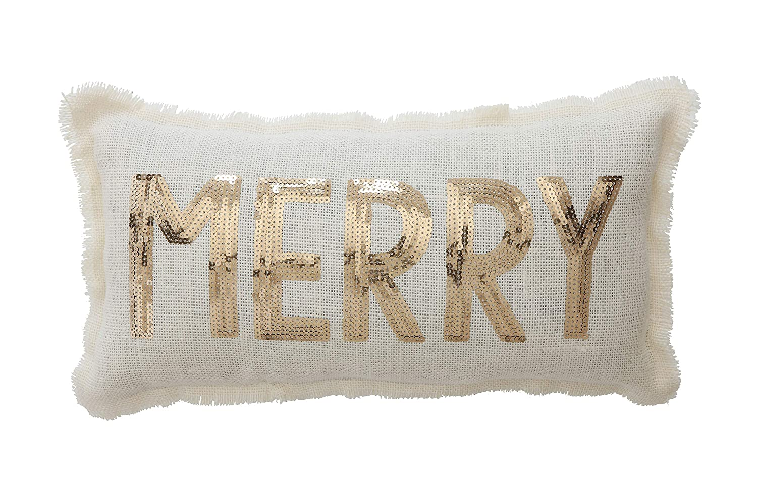Creative Co-Op White Rectangle Polyester Pillow with Gold Merry Sequins