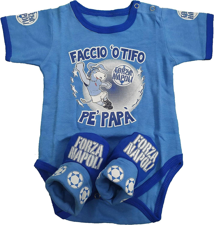Piscitelli Antonietta Body Neonato Forza Napoli con Scarpette Taglia Unica 70 cm 9 kg Tifoso Azzurro