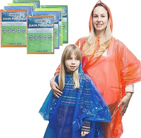 MANNCO Pack Familiar de Ponchos – Ponchos de Emergencia Desechables para la Lluvia (Extra Gruesos) - Incluye 4 Ponchos de Adulto (Hombre y Mujer) y 4 Ponchos de niño con Capucha: Amazon.es: