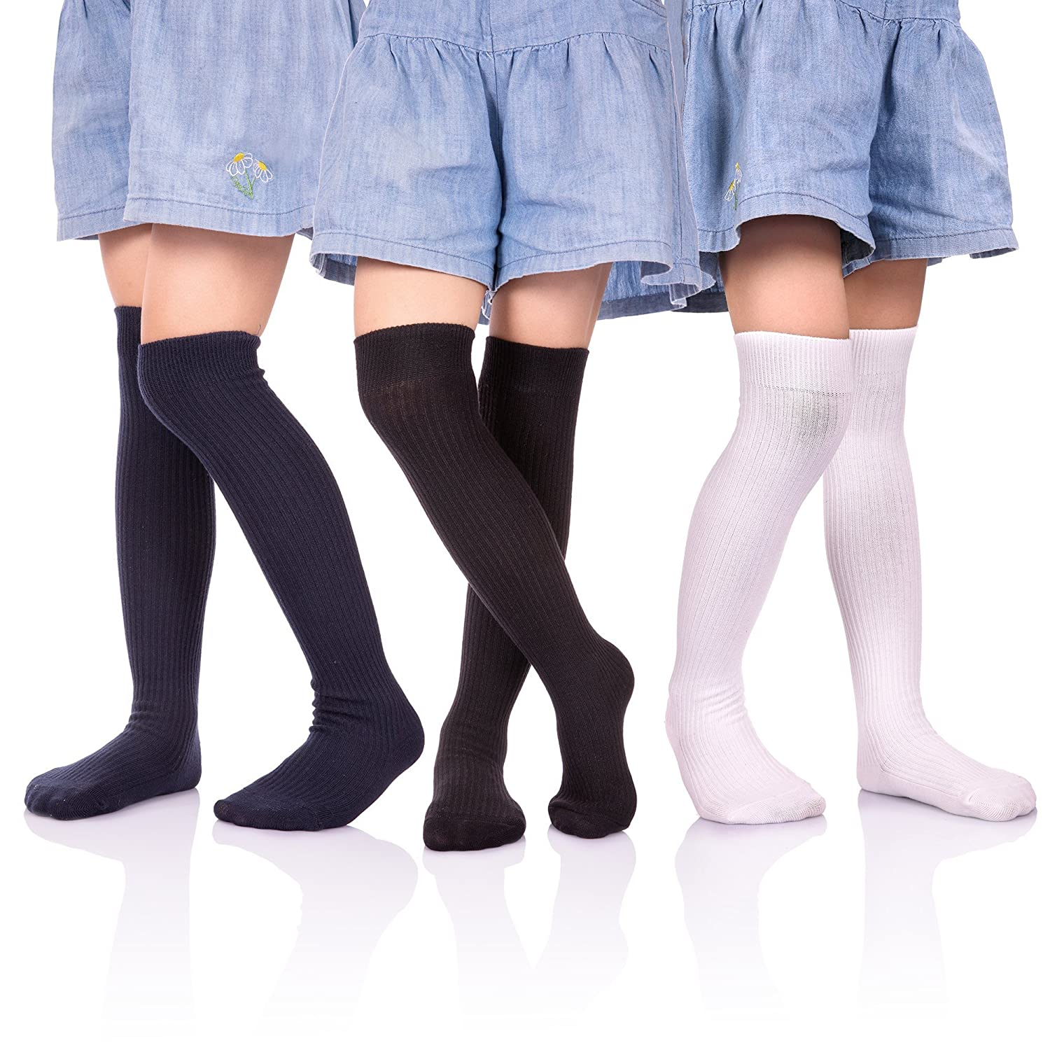HERHILLY 3 Pack School Uniform Socks - Classic Stripe Cotton Over Knee-high Socks for Big Girls 3-12 Year old
