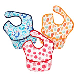 PandaEar 3 Pack Super Light Weight Baby Bib, Waterproof, Washable, Stain Oil and Odor Resistant 5-36 Months (Girl)