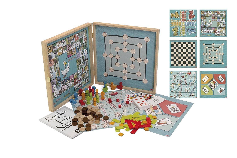 jeujura 8151 malette de jeu coffret jeux classiques 80 r gles pions bois ebay. Black Bedroom Furniture Sets. Home Design Ideas