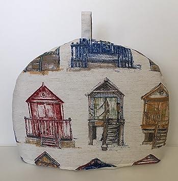 Rojo, Azul y Beige estilo Vintage diseño náutico de casetas de playa impresión hecha a mano, tamaño grande para tetera: Amazon.es: Hogar