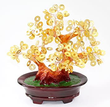 Feng Shui Gold Coins Money Fortune Tree Bonsai Home Decor Wealth Blessing Gift Us Seller