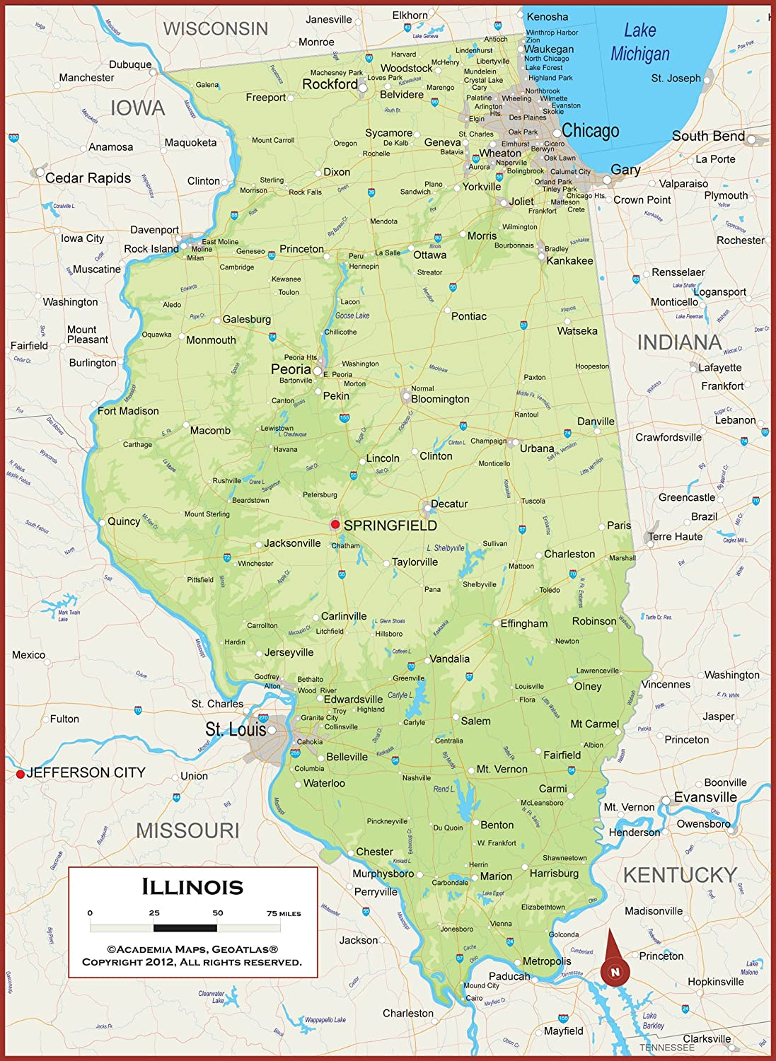 Amazon Com Academia Maps Illinois State Wall Map Fully