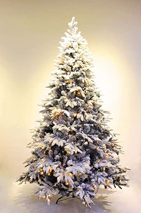 Amazon.com: HOLIDAY STUFF Pre-lit Real Feel Flocked Alpine Spruce ...