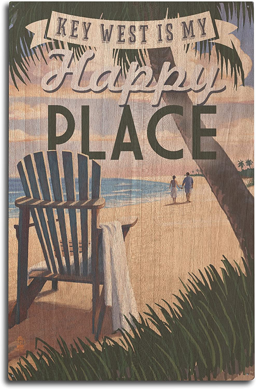 Lantern Press Key West, Florida is My Happy Place - Adirondack Chairs and Sunset - Florida (10x15 Wood Wall Sign, Wall Decor Ready to Hang)