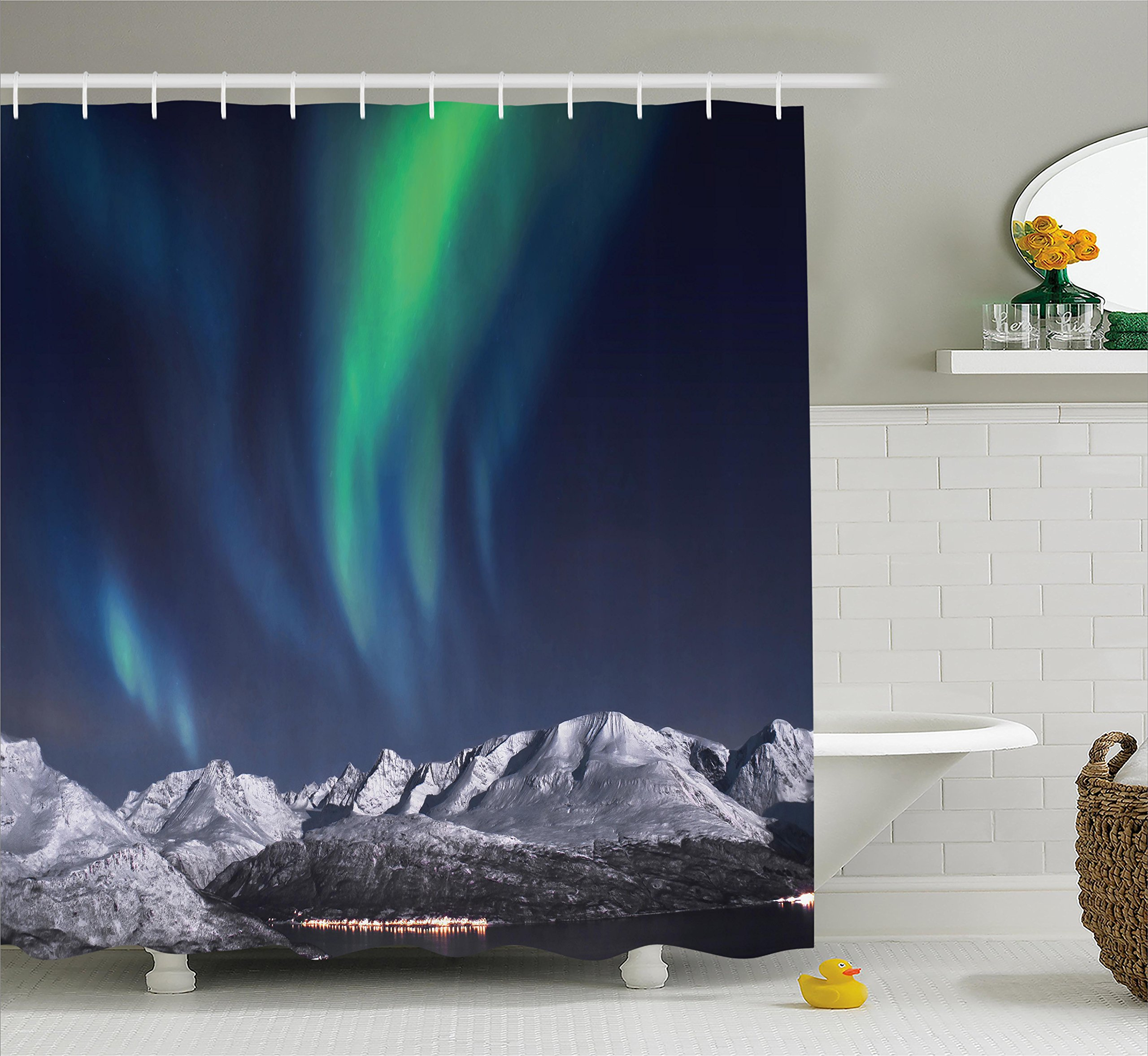 Ambesonne Sky Decor Shower Curtain, Northern Lights Aurora Over Fjords Mountain at Night Norway Solar Image, Fabric Bathroom Decor Set with Hooks, 75 inches Long, Green Dark Blue