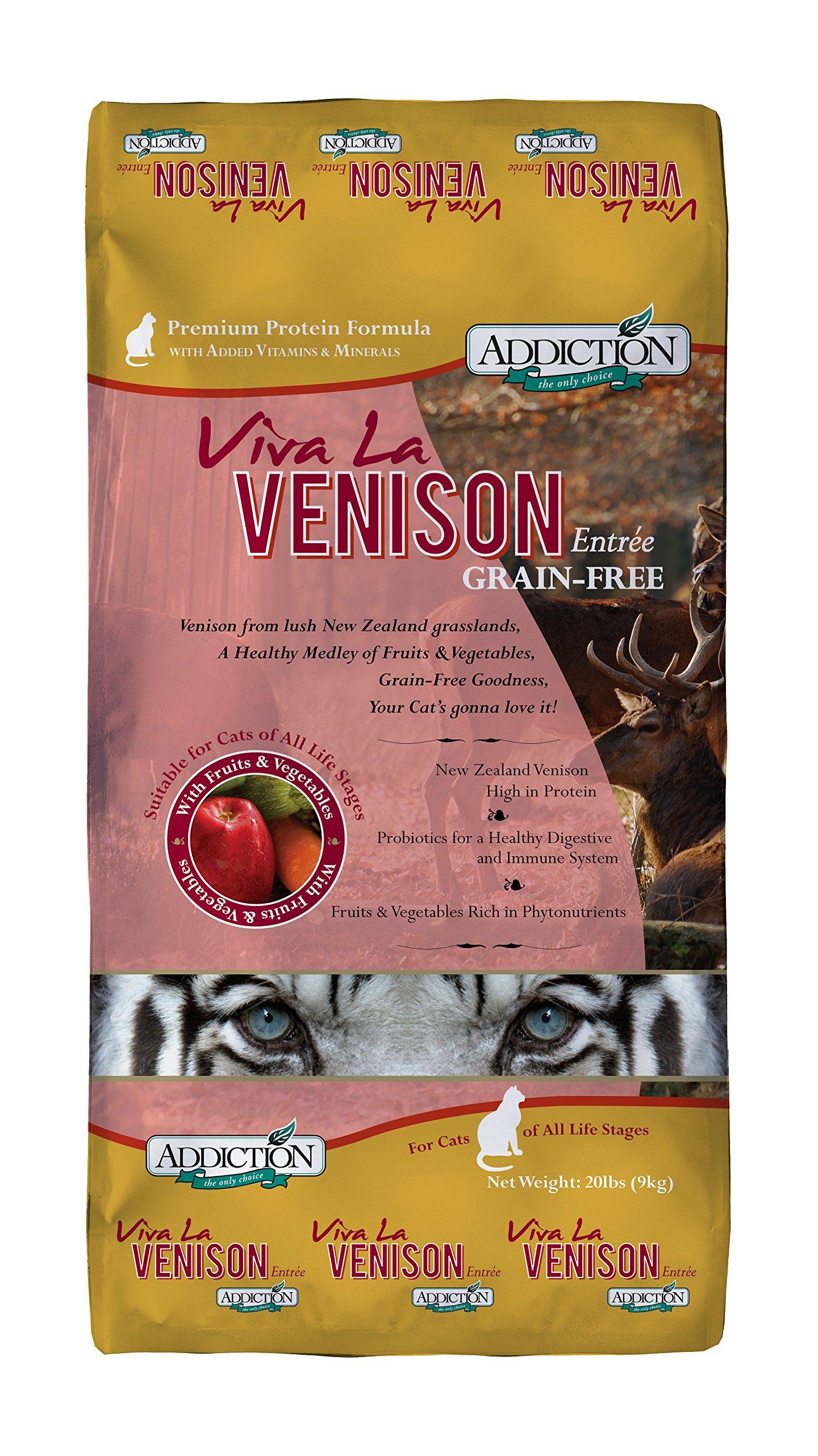 Addiction Viva La Venison Grain Free Dry Cat Food, 20 Lb. by Addiction Pet Foods