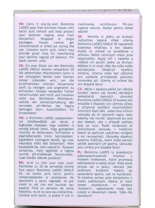 biointimo Ladies Single individualmente envuelto íntimo tejidos con ácido láctico (20/caja): Amazon.es: Salud y cuidado personal