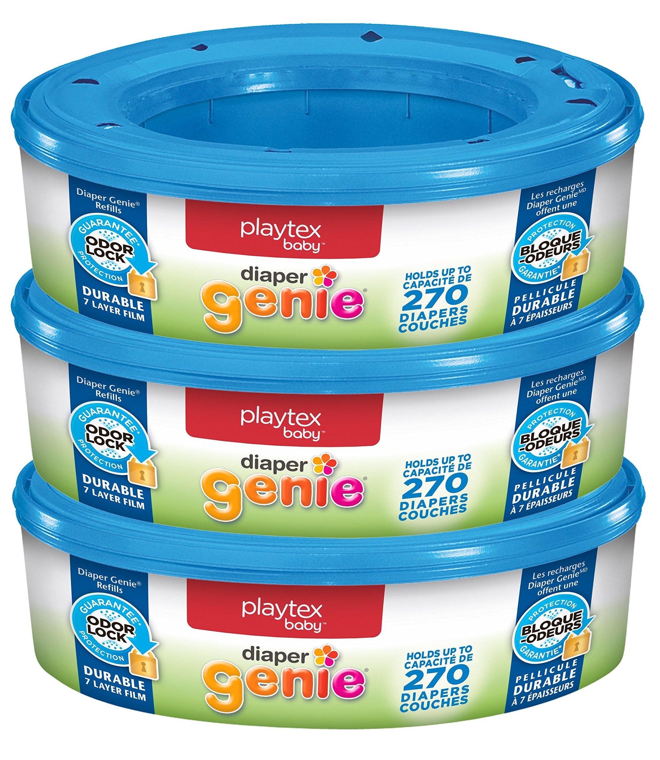 Playtex Diaper Genie Refill Bags, Ideal for Diaper Genie Diaper Pails, Pack of 3, 810 Count by Diaper Genie