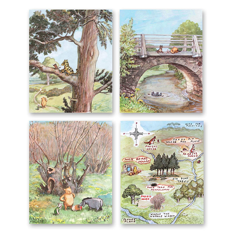 Classic Winnie the Pooh Prints Boys Room Baby Girls Nursery Wall Decor Set of 4 - Unframed