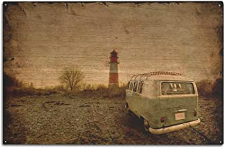 product image for Lantern Press Wet Metal Plate Photograph of a Vintage Camper Van with a Lighthouse 9015144 (10x15 Wood Wall Sign, Wall Decor Ready to Hang)