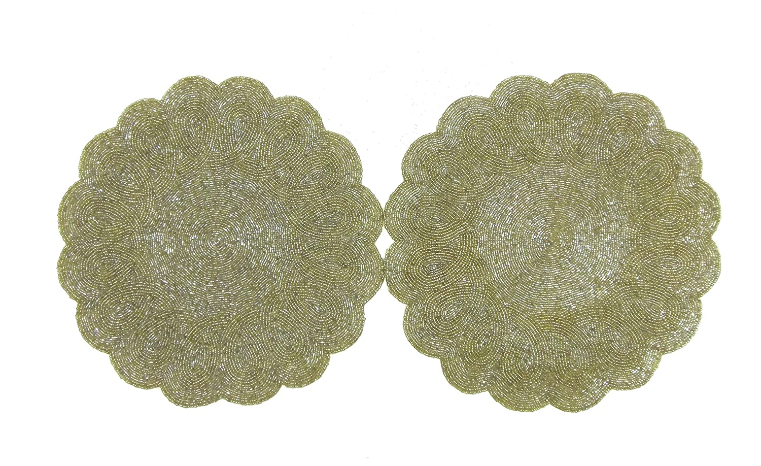 Cotton Craft - 2 Pack Beaded Placemat Set - Scalloped Round Hand Beaded Charger Placemat - Grey - Set of 2-14 Inches Round - Hand Made by Skilled artisans