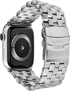 Bullstrap Men's 316L Stainless Steel Metal Watch Band Compatible with Apple Watch Series 1-6, 44mm-42mm, Silver