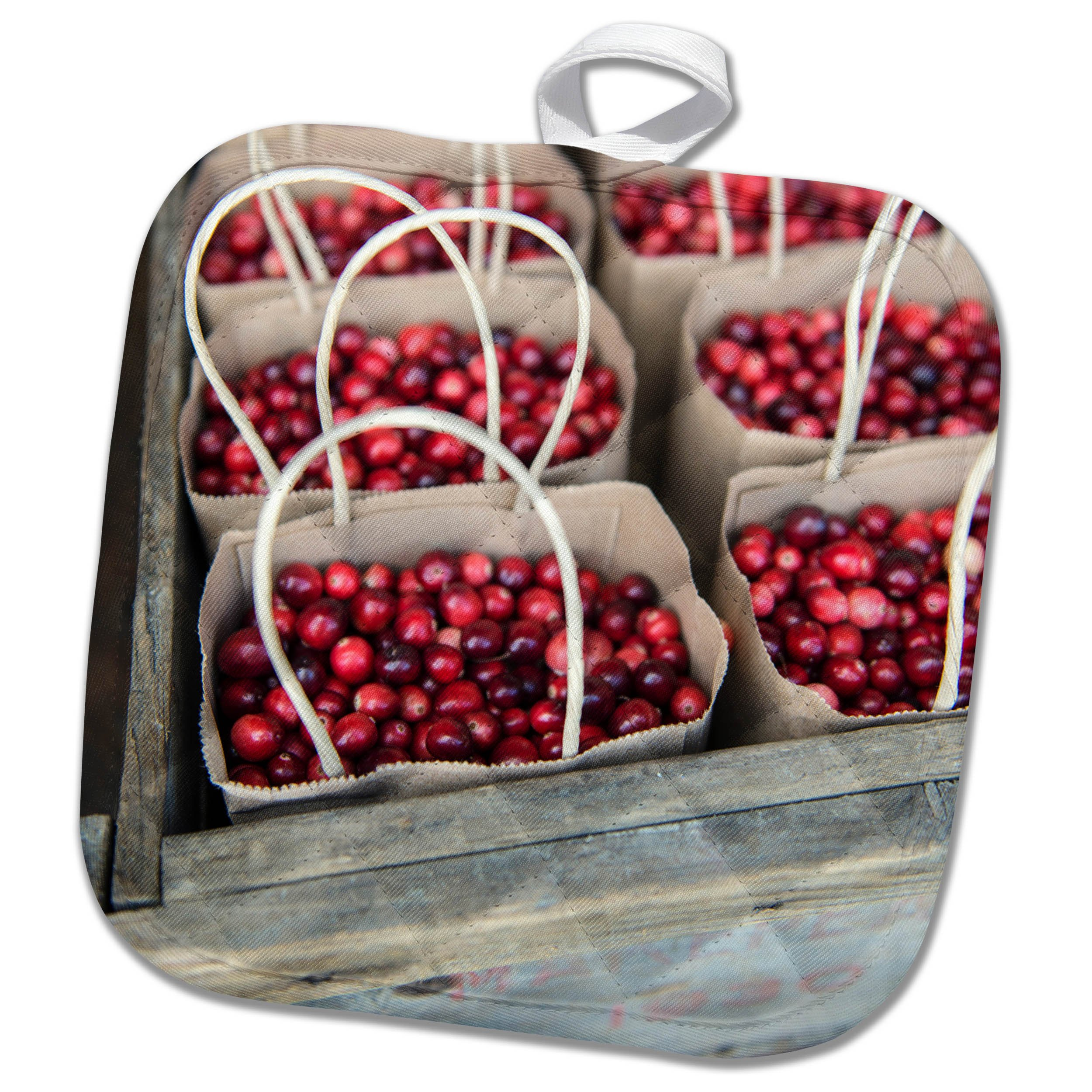 3dRose Danita Delimont - Food - USA, Massachusetts, Wareham, cranberries packaged for sale - 8x8 Potholder (phl_259425_1)