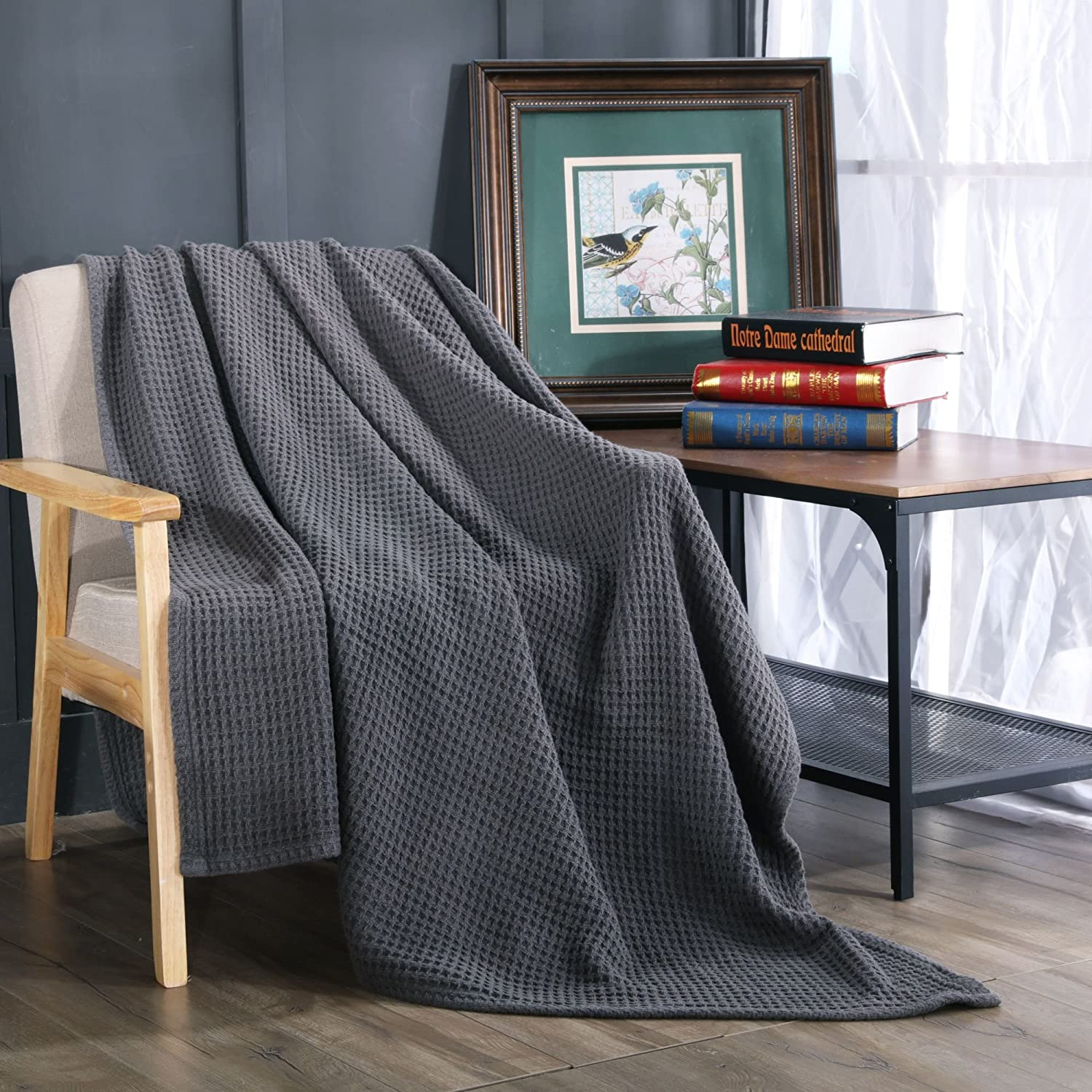 Kasentex Detailed Stitched Stone-Washed Quilt Nostalgic Design Ultra Soft Throw 100% Cotton, 70x50, Grey