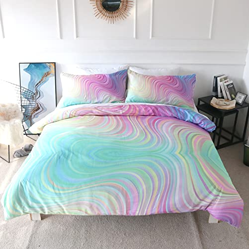 BlessLiving 3D Modern Pattern Bedding Set Duvet Cover Set Pastel Rainbow Marble Printed Comforter Cover 3 Pieces Bed Sets with 2 Pillow Cases (Twin) 7