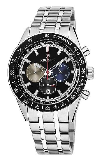 KRONOS - Vintage Sport Chronograph Black 944.8.55 - Reloj de Caballero de Cuarzo, Brazalete de Acero, Color Esfera: Negra: Amazon.es: Relojes