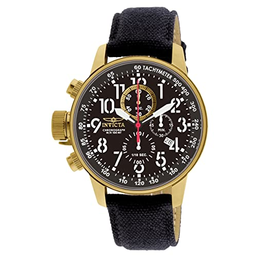 Invicta Mens 1515 I Force Collection 18k Gold Ion-Plated Watch with Black Cloth-