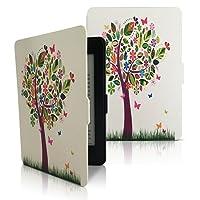 mundoGadget Funda para Kindle Paperwhite, SmartCase Magnetica, Delgada y Ligera, Diseño Árbol de Colores