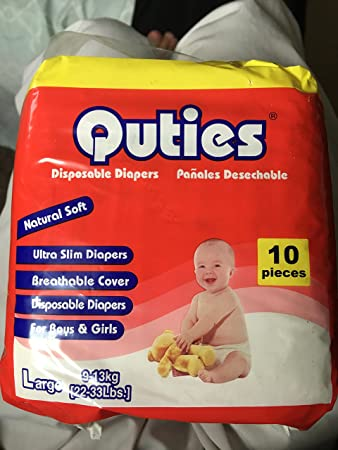 Quties Disposable Diapers 10 Pieces Per Bag Large 22-33lbs Natural Soft Ultra Slim Diapers