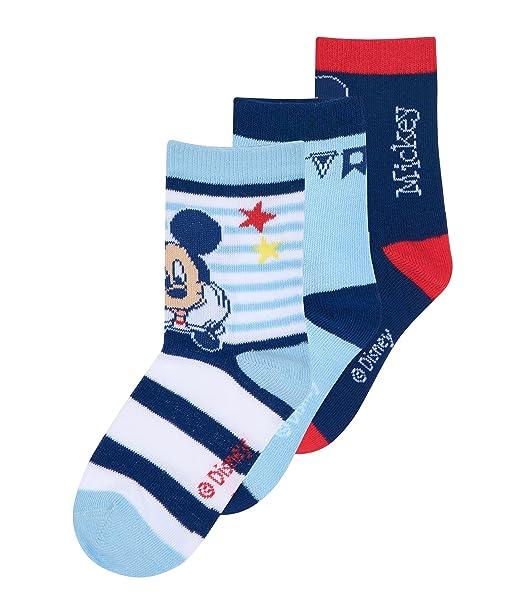 Disney Mickey Chicos Calcetines (lote de 3) - Azul - 35-38: Amazon.es: Ropa y accesorios